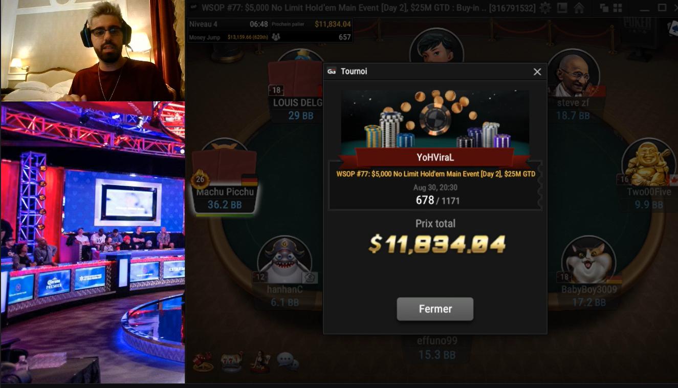 Image de couverture de l'article YoH ViraL : 12 000€ de gain après 2 jours de tournois au WSOP #77